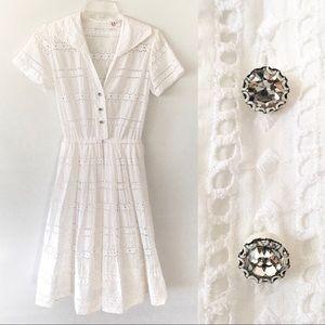 Vintage R & K Eyelet Dress 50s Antique White